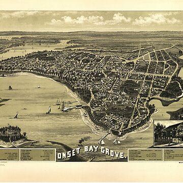 Bird's Eye View if Onset Bay Grove, Wareham, Massachusetts (l885) by allhistory
