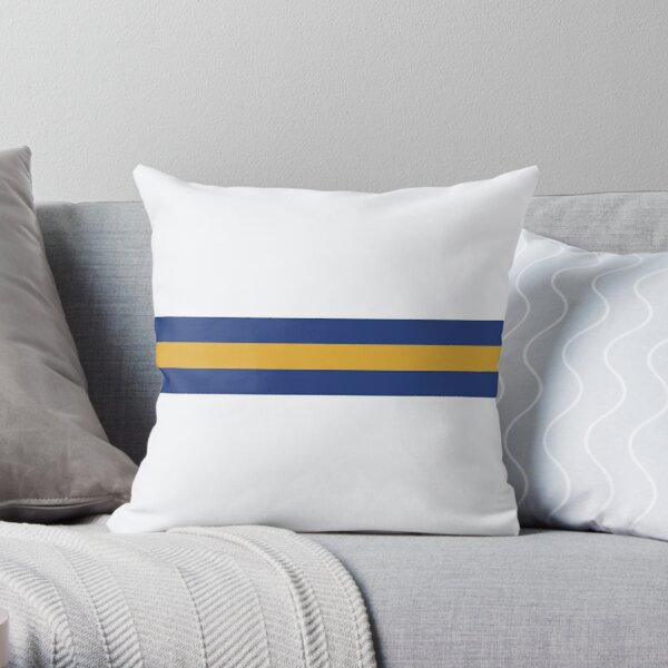 Leeds United Retro 1994 Home Jersey White Yellow Blue Bar Design Throw Pillow