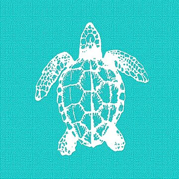 Aqua Blue with White Turtle by Greenbaby