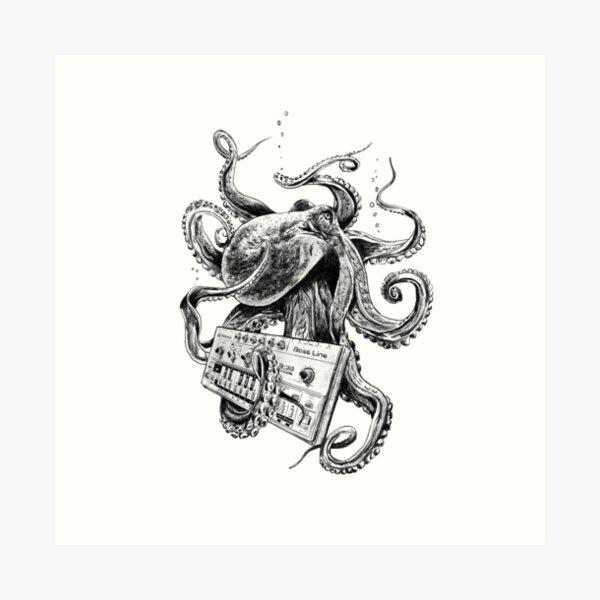 Kraken With Analog Synthesizer Art Print