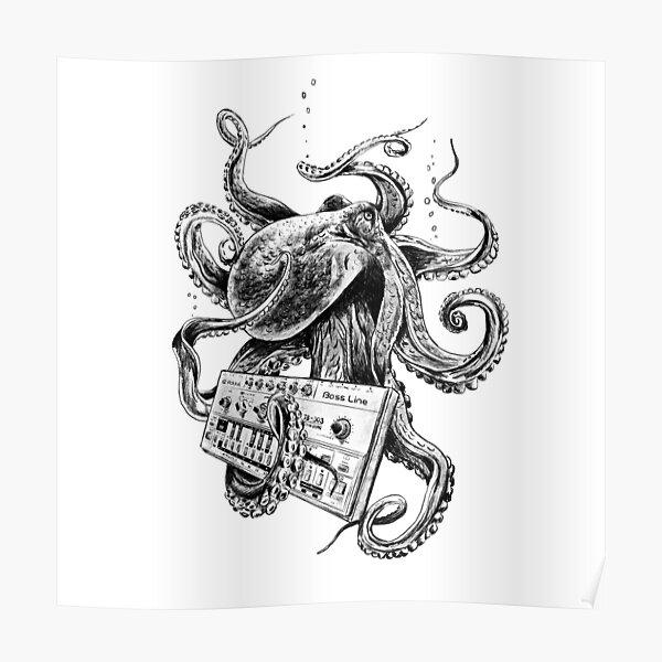 Kraken With Analog Synthesizer Poster