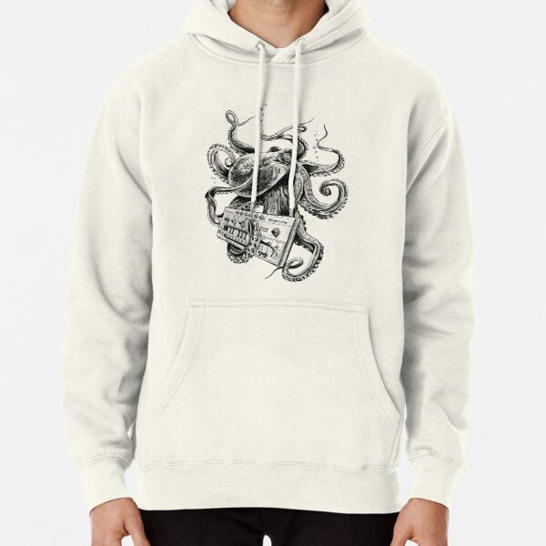 Kraken With Analog Synthesizer Pullover Hoodie
