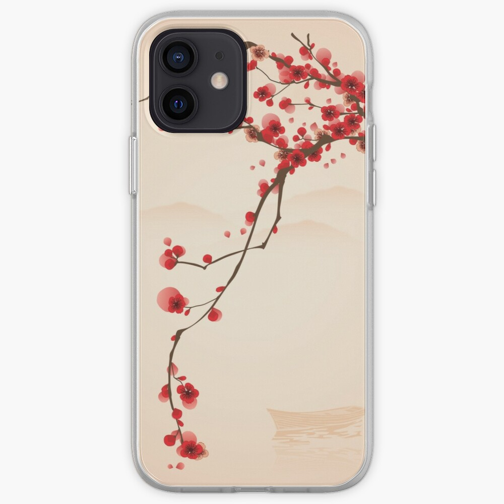 Whimsical Red Cherry Blossom Tree iPhone Case & Cover