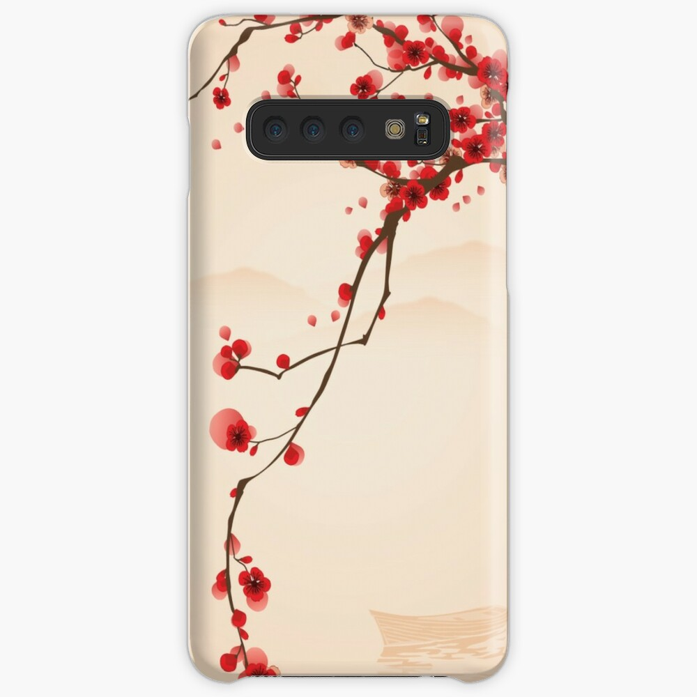 Whimsical Red Cherry Blossom Tree Case & Skin for Samsung Galaxy