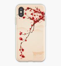 Vinilo o funda para iPhone Whimsical Red Cherry Blossom Tree