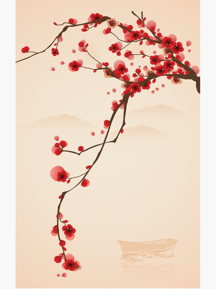 Whimsical Red Cherry Blossom Tree by RumourHasIt