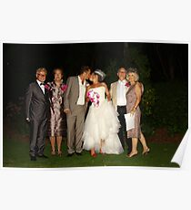 Bride and Groom With  Parents Poster
