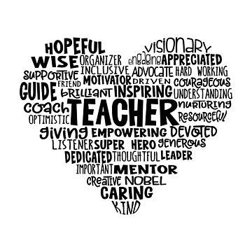 TEACHER Word Cloud Heart in Black Text by jitterfly