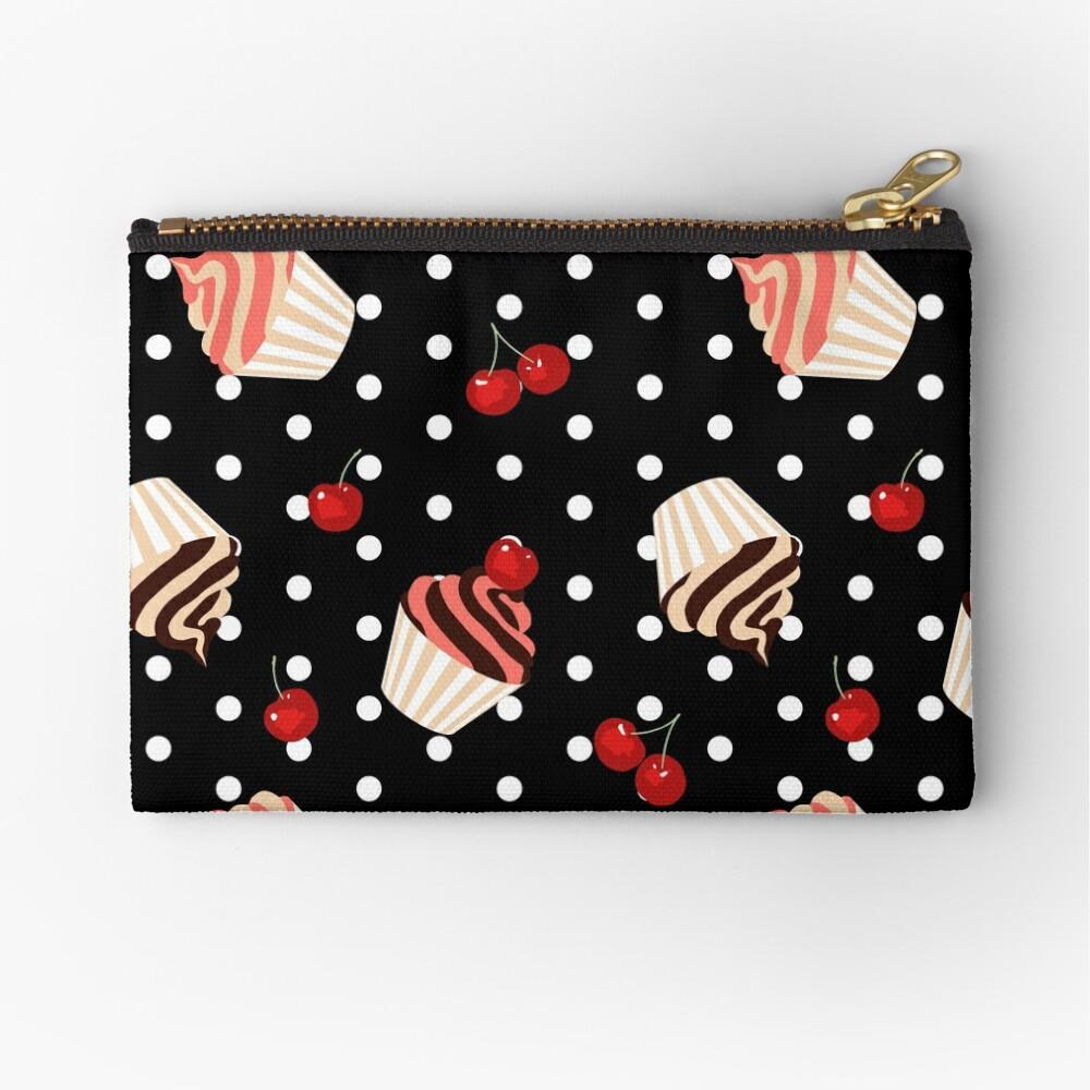 Rockabilly Cherry Cupcakes Zipper Pouch