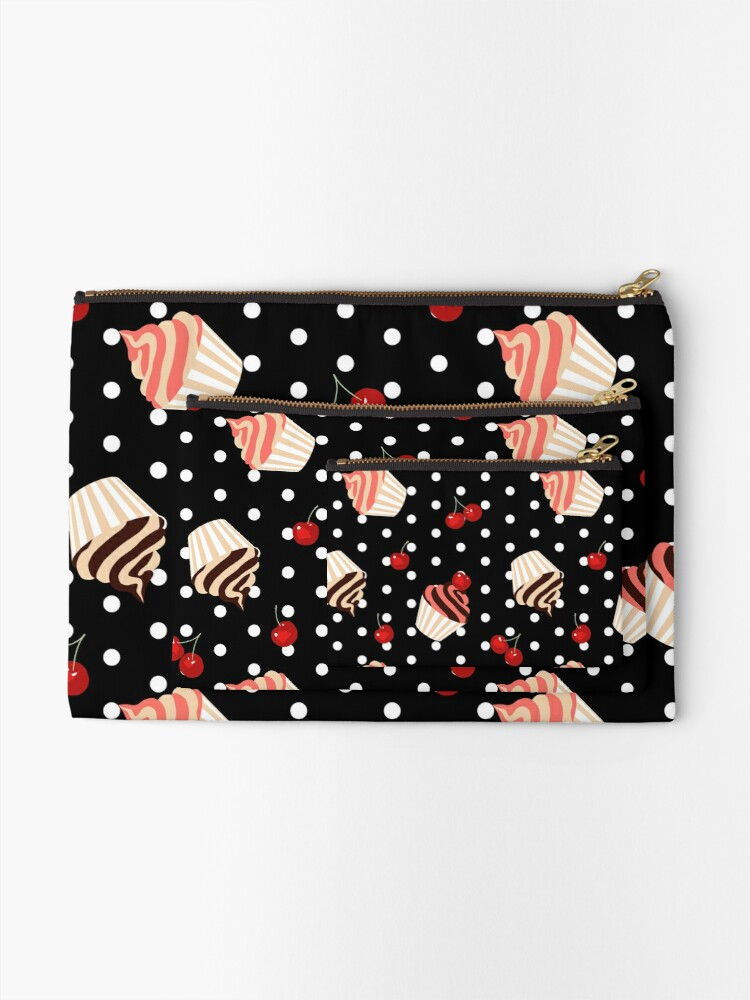Alternate view of Rockabilly Cherry Cupcakes Zipper Pouch