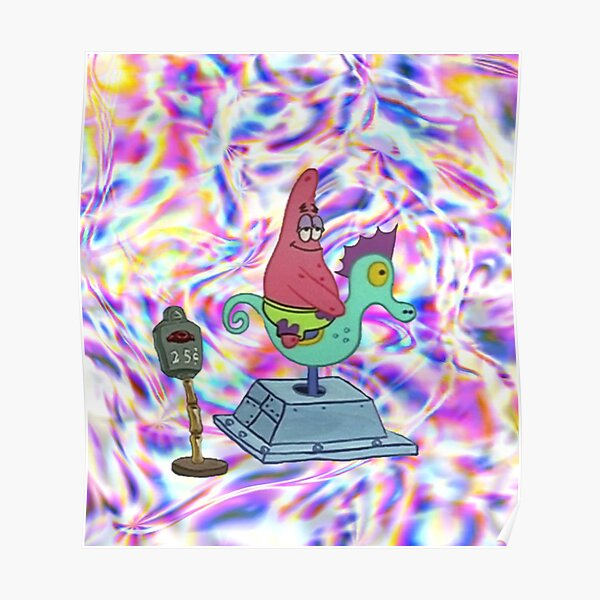 Trippy Patrick on a Seahorse Poster