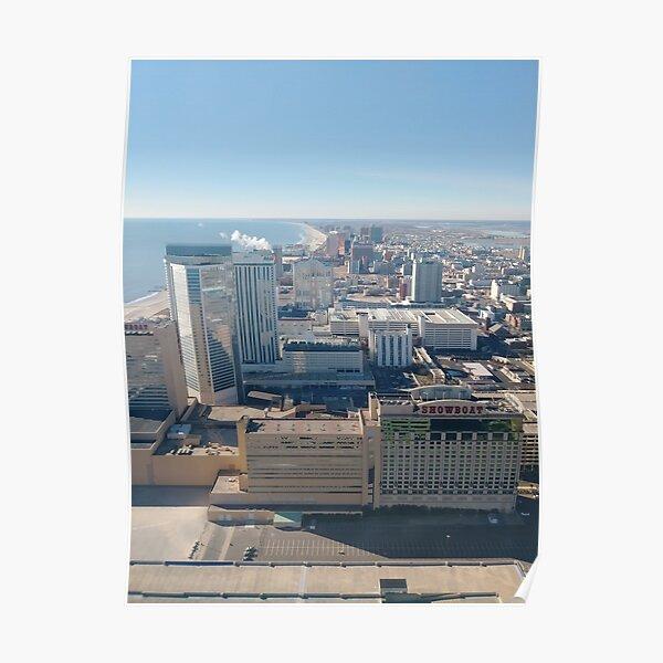 #AtlanticCity, #City, #architecture, #street, #buildings, #tree, #car, #pedestrian, #skyscraper, #evening, #sunlights Poster