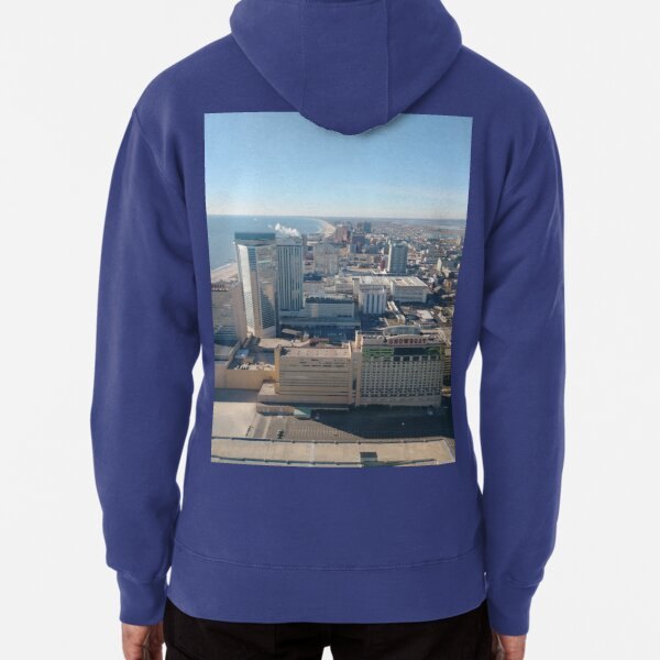 #AtlanticCity, #City, #architecture, #street, #buildings, #tree, #car, #pedestrian, #skyscraper, #evening, #sunlights Pullover Hoodie