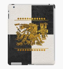 Codex Borgia - Aztec Gods - Gold Tezcatlipoca - Smoking Mirror on Black and White Leather iPad Case/Skin