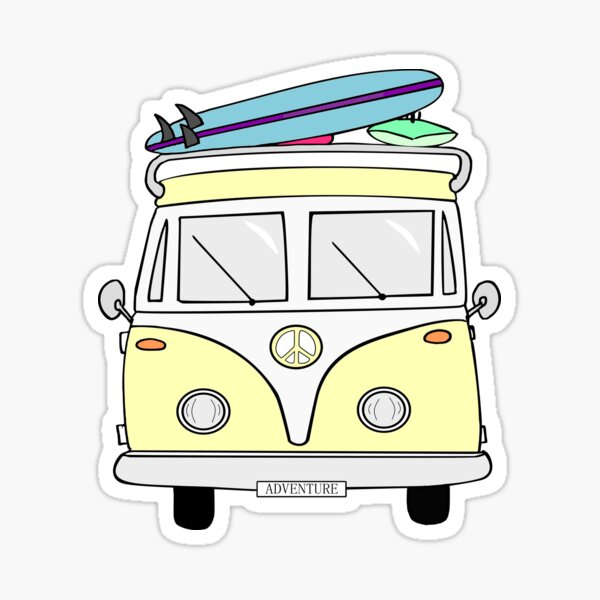 "Yellow ""Adventure"" Hippie Van Sticker"