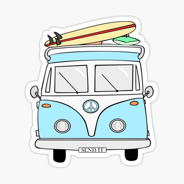 "Blue ""Send it"" Hippie Van Sticker"