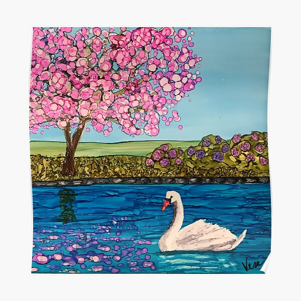 Swan Lake with Cherry Tree and Purple Hydrangea Bushes Poster