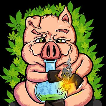 Stoned Pig who Loves to Smoke Weed by highparkoutlet