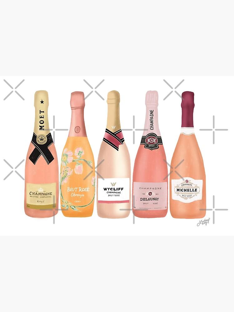 Rose Champagne Bottles Illustration  by Lindseykayco