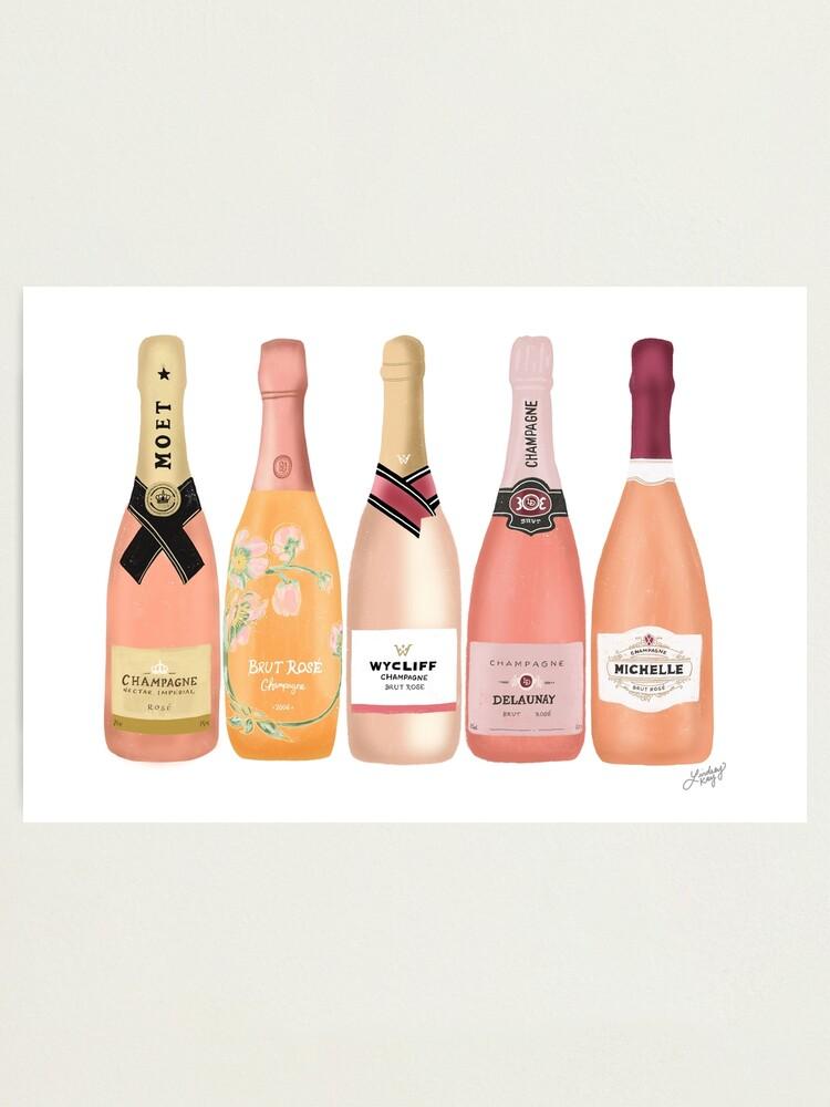 Alternate view of Rose Champagne Bottles Illustration  Photographic Print