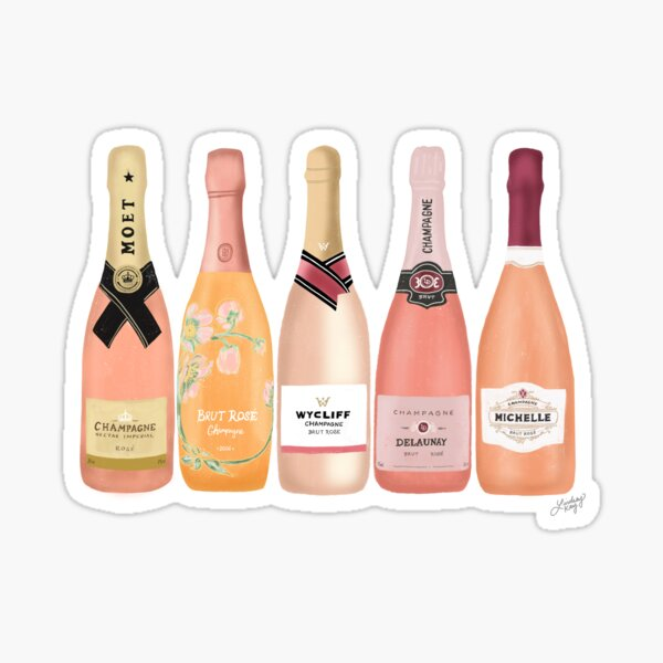 Rose Champagne Bottles Sticker