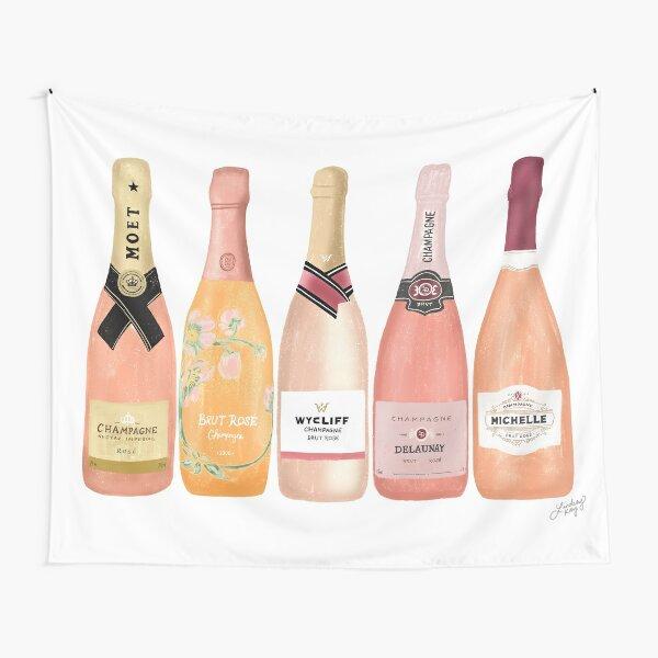 Rose Champagne Bottles Illustration  Tapestry