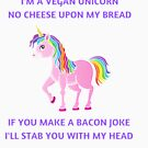 A  cute vegan unicorn, rainbow colored, magical, funny  gift for vegan and vegetarian kids  by Angie Stimson