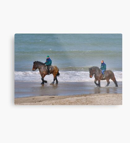 Straô horses in the North Sea Metal Print