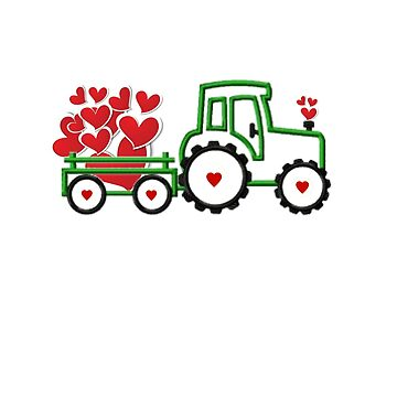 Valentines Day Loads Of Love Kids Tractor Hearts  by CheerfulDesigns