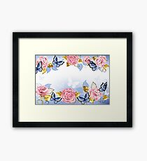 Background with Pink Roses Framed Print