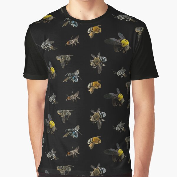 Native Australian Bees pattern Graphic T-Shirt