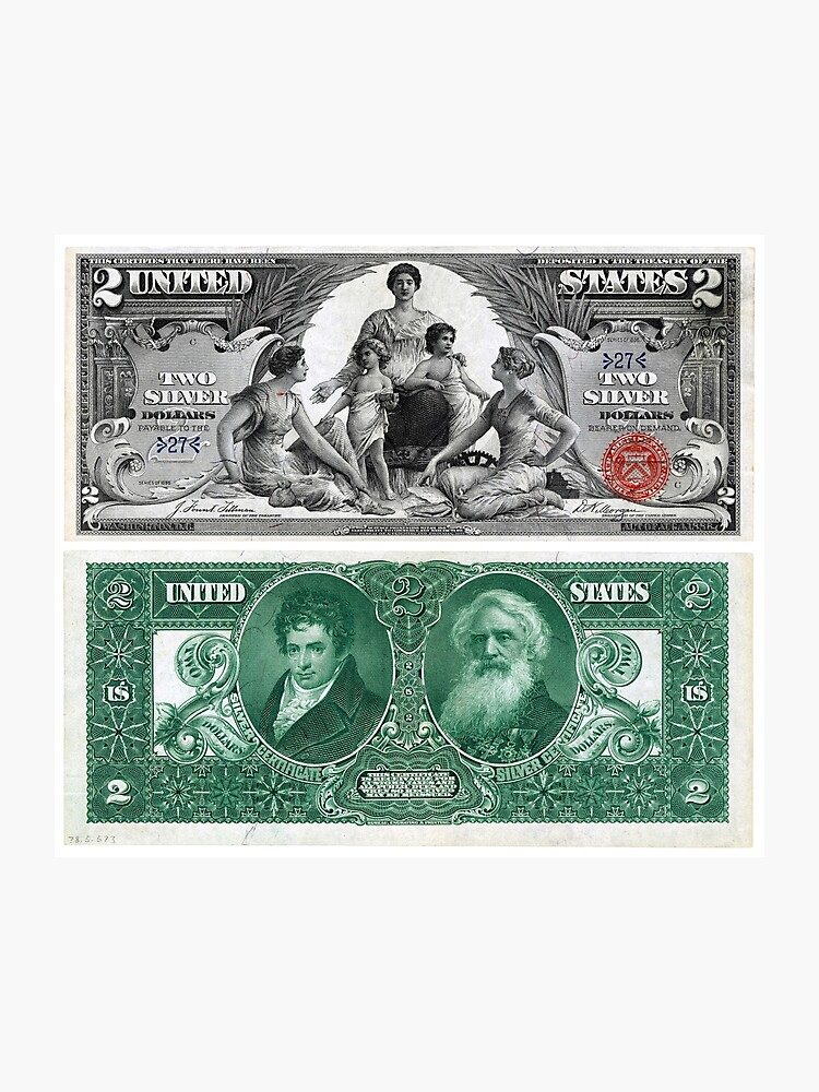 $2 (Two Dollar Bill) Silver Certificate Series of 1896 | Photographic Print