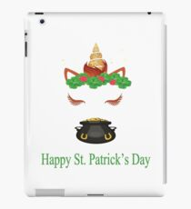 Happy St. Patrick's Day Unicorn, Clover, Crimson Flowers, and a Pot of Gold iPad Case/Skin