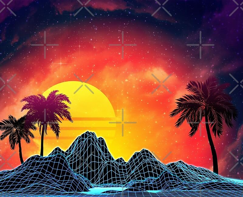 80s Retro Aesthetic Vaporwave Sunset By Annartshock Redbubble