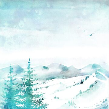 Watercolor Winter Scene Snowy Mountains Trees by TeeVision