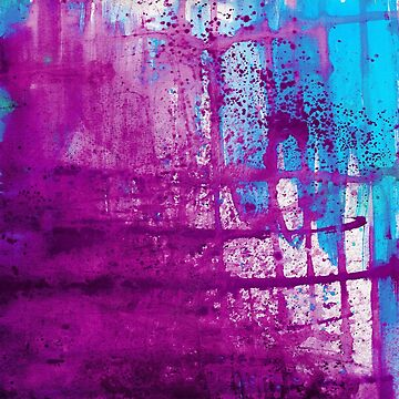 Purple Blue Abstract Grunge Painting by TeeVision