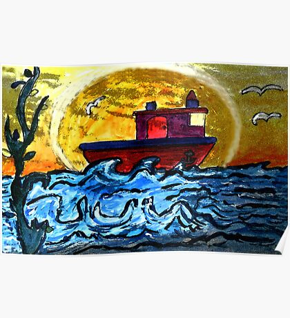 Sunset Tugboat Poster