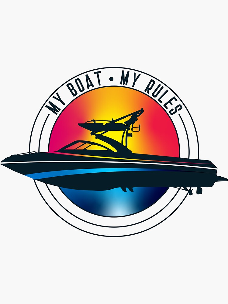 Wakeboard boat My Boat My Rules Wakeboarding T-shirt by cored9