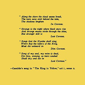The King In Yellow Robert W. Chambers Casilda's Song by buythebook86