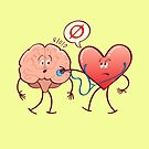 Heart examinating a brain with a stethoscope by Zoo-co