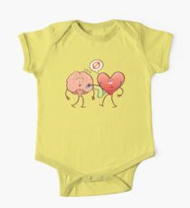 Heart examinating a brain with a stethoscope One Piece - Short Sleeve