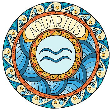 Aquarius Zodiac Sign Colorful Birth Horoscope Circle by peter2art