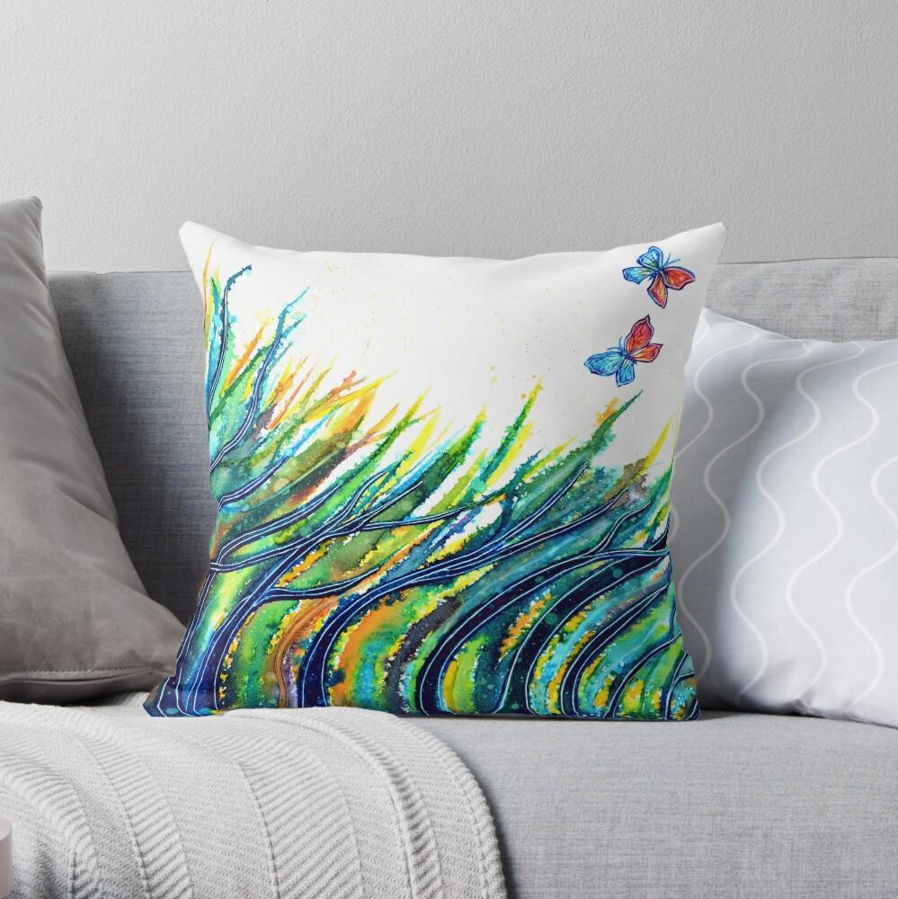 Rainbow Grass Throw Pillow