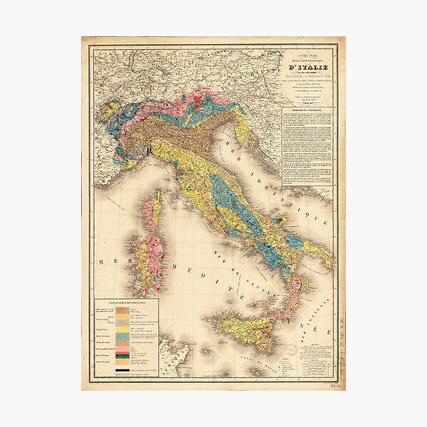 Geological Map of Italy by H. de Collegno (1844) Photographic Print