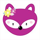 Plum Fox with Flowers by ApricotBlossom