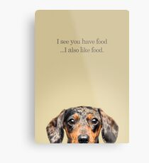 Funny and Hungry Dachshund Metal Print
