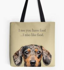 Funny and Hungry Dachshund Tote Bag