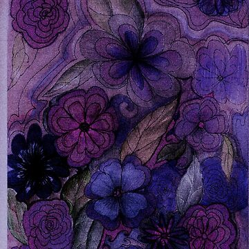 PURPLE HAZE FLOWERS RETRO 70S DESIGN by jacquline8689