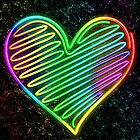 Heart Love Neon Rainbow Colors  by BluedarkArt