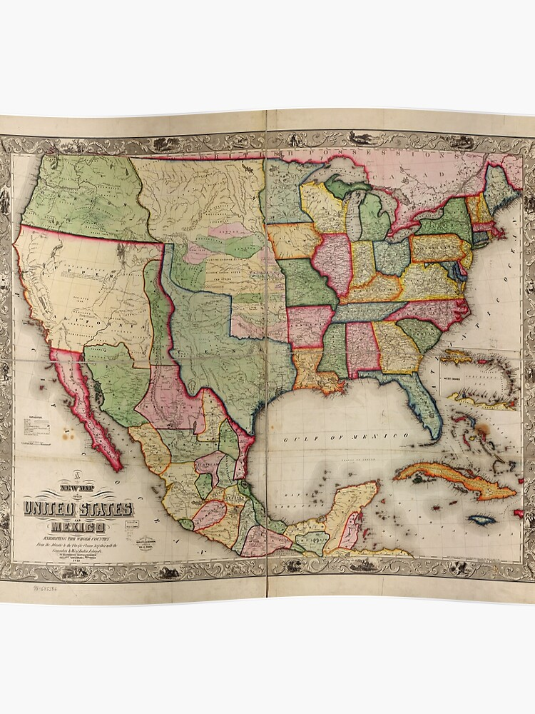 Map of the United States and Mexico (1847)   Poster